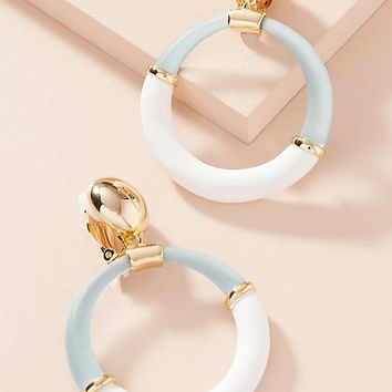 Colorblock Hoop Drop Earrings