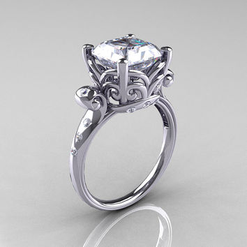 Modern Antique 14K White Gold 2.6 Carat Emerald Cut White Sapphire Diamond Solitaire Ring R166-14WGDWS