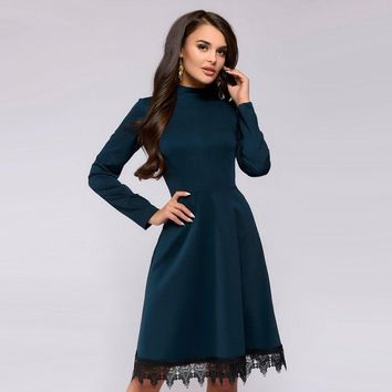 Women Vintage Lace Edge Dress Fashion Long Sleeve O Neck Knee-Length A-Line Dresses 2018 Autumn Ladies Purple Party Dress