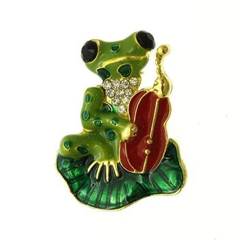 Green Frog Cello Pin And Brooch