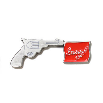 Bang! Flag Gun Lapel Pin
