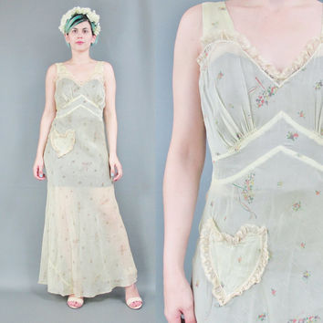 1930s Slip Dress Novelty Print Sheer Slip Floral Bias Cut Nightgown Yellow Flapper Lingerie Maxi Dress Bridal Ruffle Lace Heart Pocket (S/M)