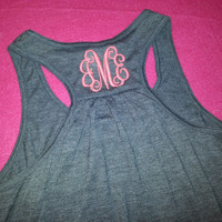 MONOGRAMMED Racer Back Tanks ADULT sizes
