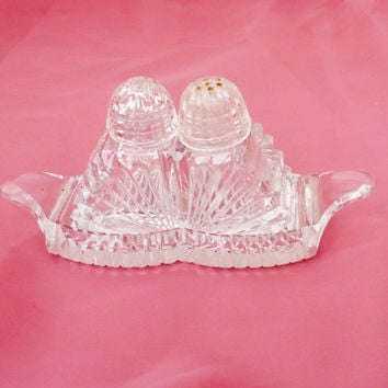 Vintage 3-piece Clear Cut Glass Salt and Pepper Shaker Set, Art Deco Salt and Pepper Shaker, UK Seller