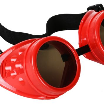 Plain Red Cosplay Goggles Mad Scientist Wielder Glasses DIY Halloween Costume