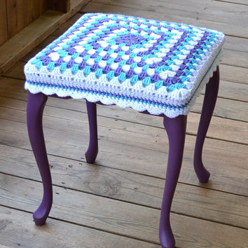 "Shabby Chic Stool 17""  high with Granny Square Crochet Cover Purple Upcycle Recycle"