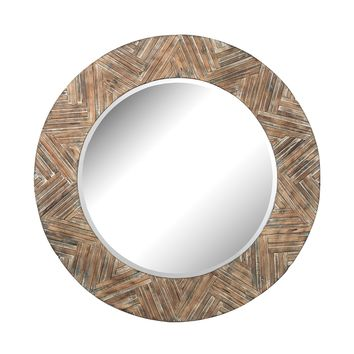 51-10162 Large Round Wood Mirror