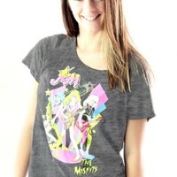 Jem and the Holograms The Misfits Playing Retro Juniors Charcoal T-Shirt