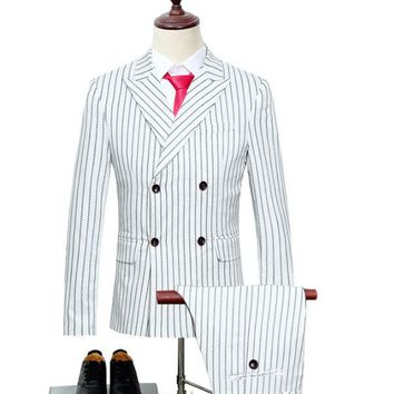 Three-piece Double Breasted Wedding Groom Suit