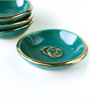 Teal and Gold Petite Dish - Modern Ceramic, Teal Dish, Mother's Day Gift, Wedding Gift, Hostess Gift, Turquoise Pottery