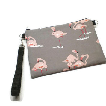 Pink and gray flamingos vegan zippered wristlet wallet clutch. With credit card slots and two zippered compartments.
