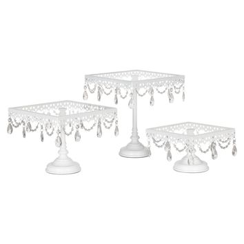3-Piece Square Glass-Top Crystal Cake Stand Set (White)