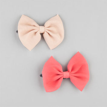 Full Tilt 2 Piece Chiffon Bow Hair Clips Coral One Size For Women 22951831301