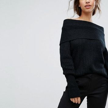 Vila Off The Shoulder Ribbed Sweater at asos.com