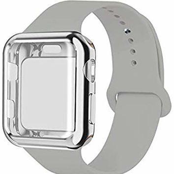 YC YANCH Compatible with Apple Watch Band 38mm 40mm 42mm 44mm with Case, Soft Silicone Sport Strap Replacement Band with Apple Watch Screen Protector Compatible with iWatch Apple Watch Series 1/2/3/4