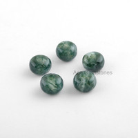 Big Hole Beads, Moss Agate Smooth Gemstone Rondelle European Style Large Hole Beads For Necklace and Bracelet - 5 Pcs.