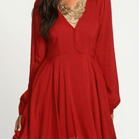 Red V-Neckline Long Sleeve Pleated Skater Dress