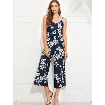 Multicolor V-Neck Sleeveless Floral Print Jumpsuit