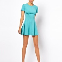 ASOS PETITE Exclusive Skater Dress With Ruch Detail - Yellow $4