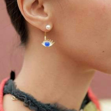 FREE SHIPPING! Evil Eye Lashes Enamel and Pearl Ear jacket ear cuff ear climber earring dual end hanging gold plated post