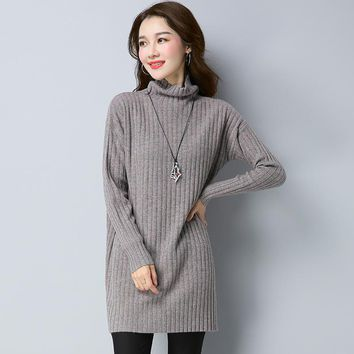 Autumn Winter Vertical Stripes Jacquard Weave Woolen Sweater Women All Matched Medium Style Slim Pullover Knitwear Jersey