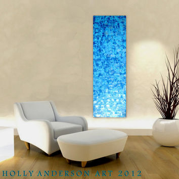 WATER & LIGHT  - a Large 60x20 Original Heavily Textured Contemporary Blue Abstract Zen Waterfall Painting by Holly Anderson Art