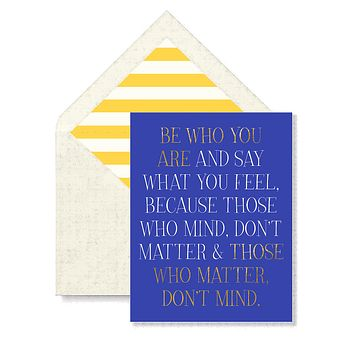 Be Who You Are Greeting Card, Single Folded Card or Boxed Set of 8