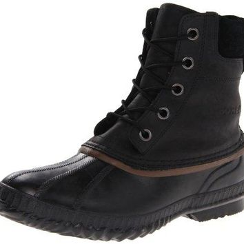 Sorel Men's Cheyanne Lace Full Grain Rain Boot,Black/Dark Brown,9.5 M US