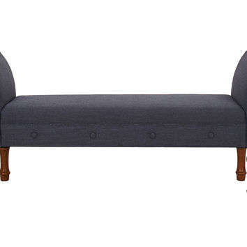Elise Roll-Arm Bench, Dark Blue, Entryway Bench
