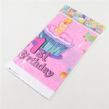 Cartoon Happy birthday table cloth theme supplies 1pcs Party Pink gift Cartoon Tablecloth Child Kids 1st Birthday Party Decor