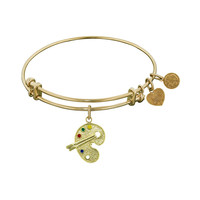 Non-Antique  Stipple Finish Brass With Enamel Paint Pallet Angelica Bangle, 7.25 Inches Adjustable
