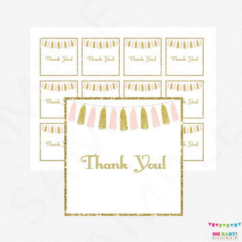 Baby Shower Thank You Tags, Pink and Gold Baby Shower, Baby Shower Favor Tags, Baby Shower Decorations, Shower Favor Cards, Tassels, TASPG