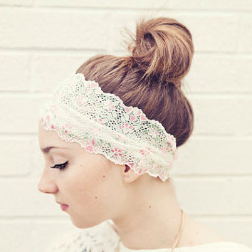 READY To SHIP Dainty Pastel WIDE Stretch Lace Headband for that special event Perfect for Easter