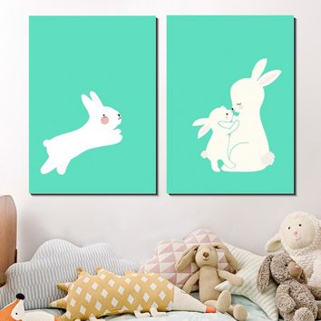 LOVE YOU MOM Simple Cute Cartoon Animal Rabbit Silk Poster Wall Art Print Picture Sweet Wall Home Decor Child Baby Bedroom Decor