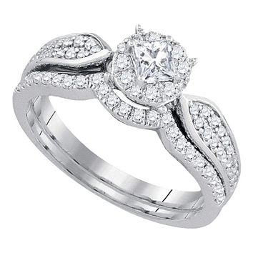14k White Gold Women's Princess Diamond Bridal Wedding Engagement Ring Band Set 3/4 Cttw - FREE Shipping (US/CAN)