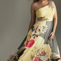 Elegant Plus Size Prom Dresses, One Shoulder Print Gown- PromGirl