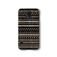 Samsung Galaxy S5 Case, Black Aztec Geometric on Wood Pattern 3d-sublimated, Mobile Accessories.
