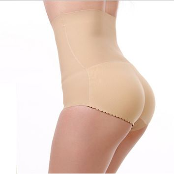 2017 New With Hip Underpants Women Waist Abdomen Padded Buttock Thickened Sponge Tights Natural Color Womens Cotton