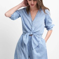 Linen-cotton tie romper | Gap