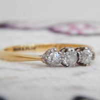 edwardian diamond engagement ring - old cut diamonds with platinum and 18ct gold