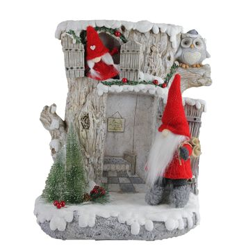 """17.5"""" LED Lighted Woodland House with Red Plush Gnome Couple Christmas Decoration"""