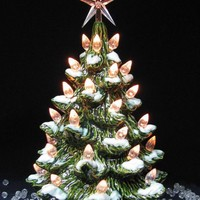 Winter Holiday Snow Ceramic Christmas Tree 9 Inch Tall White Lights