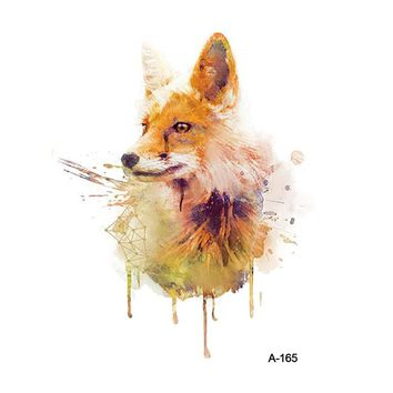 WYUEN Fox Fake Tattoo Sticker for Adults Temporary Watercolor Women Arm Tatoo Stickers Men Body Art Tattoos A-165