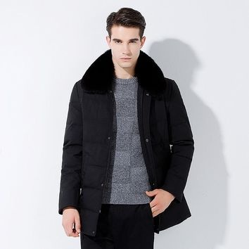 80% white duck down Men's Winter Coats fox Hooded Jackets Thick Warm Fashion Casual Stand Collar