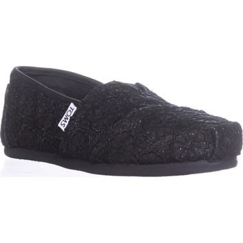 TOMS Classic Slip-On Flats, Black Crochet, 6 US / 36.5 EU