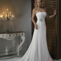 Empire Strapless Chapel Train Chiffon Wedding Dress with Crystal Floral Pin at Msdressy