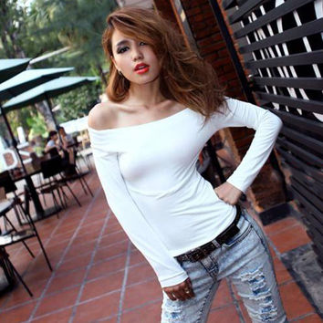 Women's T Shirt Off The Shoulder Tops Solid Black White Red Casual Summer Style T-Shirt Tee PE3478*50