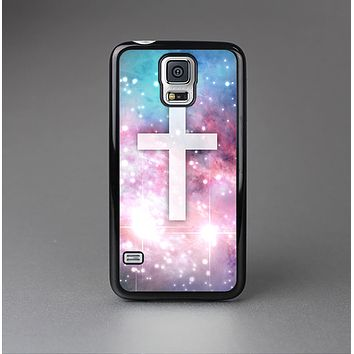 The Vector White Cross v2 over Colorful Neon Space Nebula Skin-Sert Case for the Samsung Galaxy S5