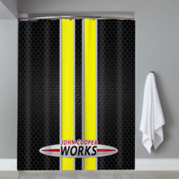 John Cooper Works Logo Mini Cooper Yellow Stripe Shower Curtain Limited Edition