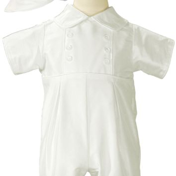 100% Silk Dupioni Handmade Christening Romper Outfit with Captain Hat Baby Boys 0 - 24 months